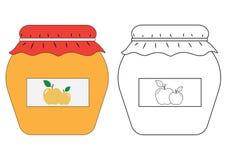 Apple stauen Glas, Malbuch Auch im corel abgehobenen Betrag Stockfotos
