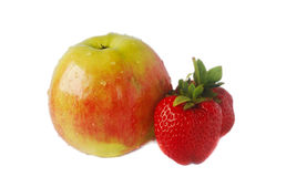 Apple and stawberries Royalty Free Stock Image