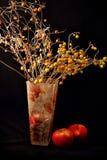Apple, stearinljus och vas av blommor på svart bakgrund Royaltyfria Foton