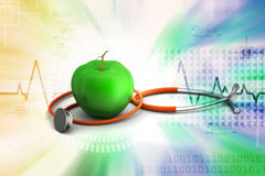 Apple with stethoscope Royalty Free Stock Images