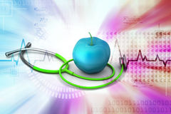 Apple with stethoscope Stock Photography