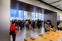 Apple stockent à la route de Nanjing à Changhaï Image libre de droits