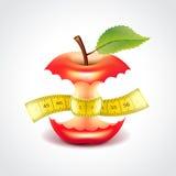 Apple-stomp met het meten van band vectorillustratie royalty-vrije illustratie