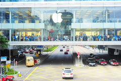 Apple store. Hong Kong - January 21, 2013: Customers at Apple store  in Hong Kong. In 2012, Apple sold 172 million iPods, iPhones and iPads, These post-PC Royalty Free Stock Images