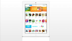 Apple store application on a white iPad display Royalty Free Stock Photos