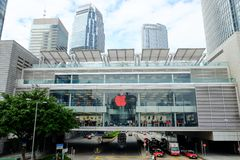 Apple Store dichtbij Hong Kong-post, Hong Kong, China Royalty-vrije Stock Fotografie