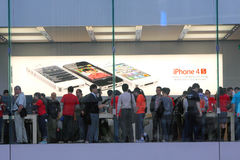 Apple Store Display. Display of iphone 4S in Hong Kong Apple Store Royalty Free Stock Photo