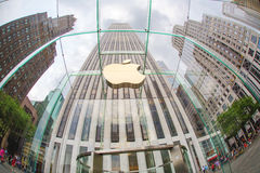 Apple store. On Fifth Avenue in New York royalty free stock photography