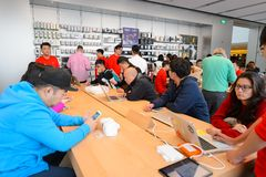 Apple store. HONG KONG - DECEMBER 25, 2015:  interior of Apple store. Apple Inc. is an American multinational technology company headquartered in Cupertino Royalty Free Stock Photography
