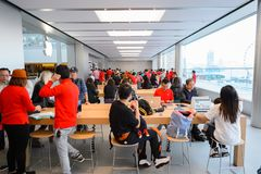 Apple store. HONG KONG - DECEMBER 25, 2015:  interior of Apple store. Apple Inc. is an American multinational technology company headquartered in Cupertino Royalty Free Stock Photo