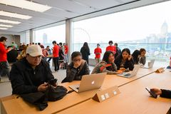Apple store. HONG KONG - DECEMBER 25, 2015:  interior of Apple store. Apple Inc. is an American multinational technology company headquartered in Cupertino Stock Photos