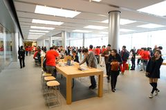 Apple store. HONG KONG - DECEMBER 25, 2015:  interior of Apple store. Apple Inc. is an American multinational technology company headquartered in Cupertino Stock Photography
