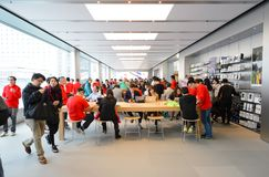 Apple store. HONG KONG - DECEMBER 25, 2015:  interior of Apple store. Apple Inc. is an American multinational technology company headquartered in Cupertino Stock Photo