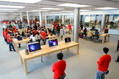 Apple store. HONG KONG - DECEMBER 25, 2015:  interior of Apple store. Apple Inc. is an American multinational technology company headquartered in Cupertino Royalty Free Stock Images