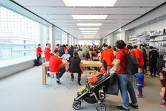 Apple store. HONG KONG - DECEMBER 25, 2015:  interior of Apple store. Apple Inc. is an American multinational technology company headquartered in Cupertino Royalty Free Stock Photos