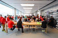 Apple store. HONG KONG - DECEMBER 25, 2015:  interior of Apple store. Apple Inc. is an American multinational technology company headquartered in Cupertino Royalty Free Stock Image