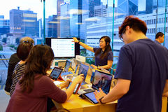 Apple store. HONG KONG - MAY 5, 2015:  interior of Apple store. Apple Inc. is an American multinational technology company headquartered in Cupertino, California Stock Image