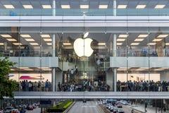 Apple store of IFC mall at Hong Kong. Central, Hong Kong - October 29, 2017 : Crowded people shopping at Apple store of IFC mall just 5 days before iPhone X Royalty Free Stock Photo