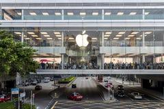 Apple store of IFC mall at Hong Kong. Central, Hong Kong - October 29, 2017 : Crowded people shopping at Apple store of IFC mall just 5 days before iPhone X Stock Photo