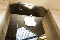 Apple store logo, Carousel shopping centre, Paris. PARIS, FRANCE - 30 MAY 2017: Apple store facade and logotype, Carousel shopping centre Stock Photo