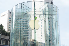 Apple store Logo changing the color  to green Royalty Free Stock Photography
