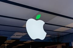 Dayton - Circa April 2018: Apple Store Retail Mall Location. Apple sells and services iPhones and iPads II. Apple Store Retail Mall Location. Apple sells and Royalty Free Stock Photo