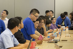 In Apple store Shenzhen, China. Shenzhen, China - November 3: Many people inside Apple store. Apple open its seventh Apple store in mainland China, located at Royalty Free Stock Image