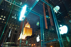 Apple Store sign on Fifth Avenue. NYC Royalty Free Stock Images