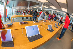 Apple Store tablet. Hong Kong, China - December 4, 2016: close up tablet inside Apple store, IFC Mall, Central District. Apple is world leader in consumer stock image