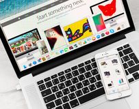 Apple Store-toepassing op Apple-iPhone 6 vertoning Royalty-vrije Stock Foto