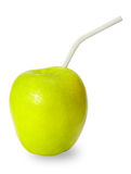 Apple with straw Stock Image