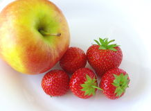 Apple and strawberries Royalty Free Stock Photo