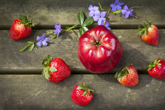 Apple and strawberries Royalty Free Stock Photography