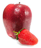 Apple with strawberry Stock Image