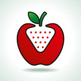 Apple and strawberry iconic  Royalty Free Stock Images