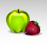 Apple and strawberry Stock Images