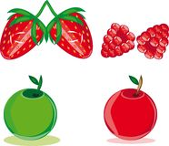 Apple, strawberry and raspberry Stock Photo