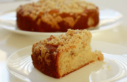 Apple streusel cake. Delicious apple streusel cake for coffee break Stock Photos