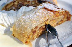 Apple Strudel. With cream and vanilla sauce is a specialty sweet in Southern Germany and Austria stock photos