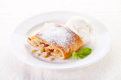 Apple strudel. With vanilla ice cream and mint Stock Photography