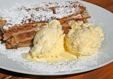 Apple strudel. Traditional Austrian apple strudel with ice cream Stock Image