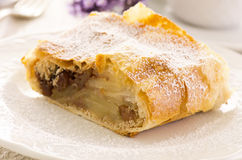 Apple Strudel. As closeup on a white plate Royalty Free Stock Images