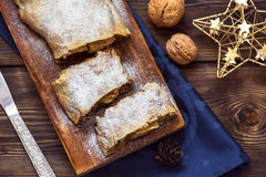 Apple strudel for Christmas Royalty Free Stock Image
