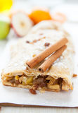 Apple strudel with cinnamon Royalty Free Stock Photo