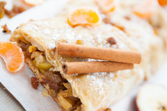 Apple strudel with cinnamon and citrus Stock Photography