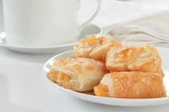 Apple strudel and coffee stock images