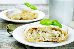 Apple strudel with cream cheese Royalty Free Stock Image