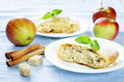 Apple strudel with cream cheese Royalty Free Stock Images