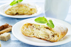 Apple strudel with cream cheese Stock Photos