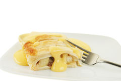 Apple strudel and custard Stock Photo